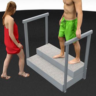Porealtaan portaat raput ja kaide, kaiteet. Leveys 121 cm, korkeus 33,5 cm ja korotettuna 43,5 cm.