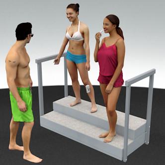 Porealtaan portaat raput ja kaide, kaiteet. Leveys 161 cm, korkeus 33,5 cm ja korotettuna 43,5 cm.