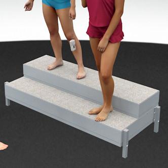 Porealtaan portaat raput. Leveys 161 cm, korkeus 33,5 cm ja korotettuna 43,5 cm.