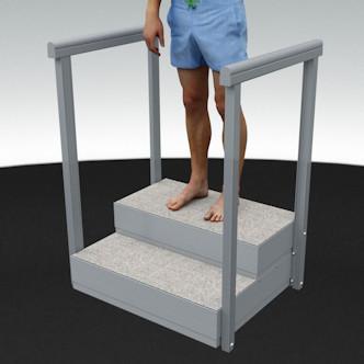 Porealtaan portaat raput ja kaide, kaiteet. Leveys 81 cm, korkeus 33,5 cm ja korotettuna 43,5 cm.